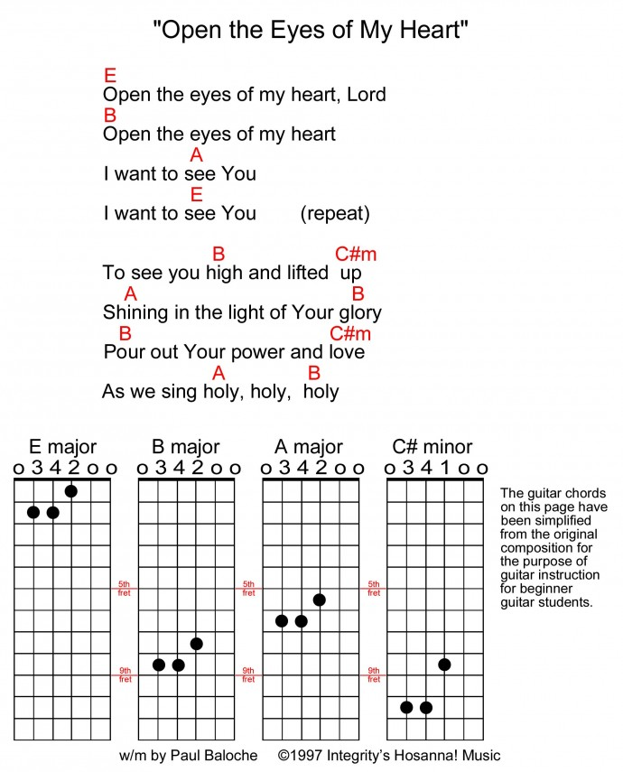 Unique Open The Eyes Of My Heart Lord Guitar Chords Crest - Beginner ...
